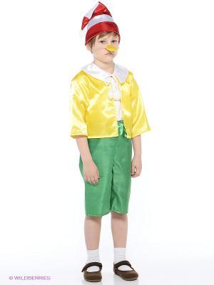 Карнавальный костюм Буратино Батик. Цвет: зеленый, красный, желтый