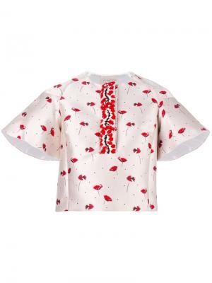 Блузка с цветочным узором Giambattista Valli. Цвет: телесный