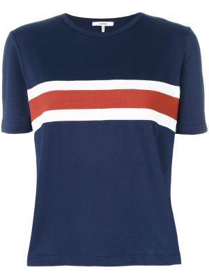 Striped detail T-shirt Ganni. Цвет: синий