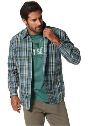 Комплект: рубашка + футболка MANS WORLD MAN'S. Цвет: оливковый/антрацитовый в клетку+светло-зеленый