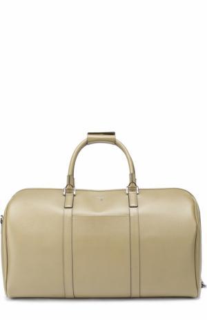 Кожаная дорожная сумка с плечевым ремнем Serapian. Цвет: оливковый