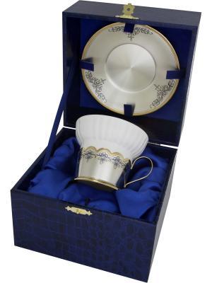 Чашка с блюдцем Астра Северная Чернь. Цвет: золотистый, серебристый