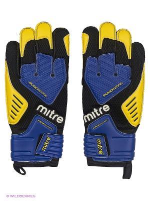 Перчатки вратарские MITRE BRZ Academy взрослые. Цвет: черный, синий, желтый