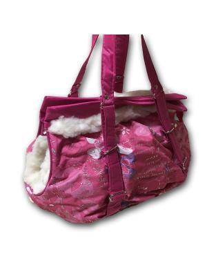 Сумка-переноска зимняя для собак мелких пород, с кармашком Dogman. Цвет: розовый