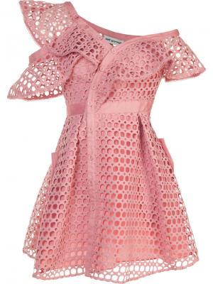 Кружевное платье на пуговицах спереди Self-Portrait. Цвет: розовый и фиолетовый