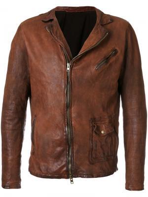 Байкерская куртка с эффектом помятости Salvatore Santoro. Цвет: коричневый