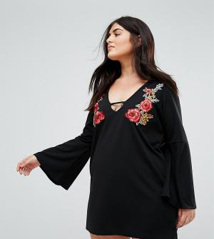 Praslin Платье-туника с цветочной вышивкой. Цвет: черный