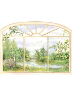 Виниловая наклейка  Окно в лето DECORETTO. Цвет: белый, зеленый