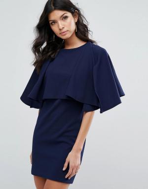 Club L Платье мини без рукавов с накладкой-оборкой. Цвет: темно-синий