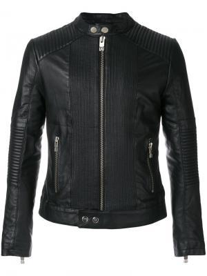 Байкерская куртка с воротником мандарин Les Hommes Urban. Цвет: чёрный