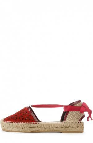 Замшевые эспадрильи Adriana с перфорацией Oscar de la Renta. Цвет: красный