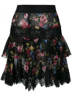 Юбка с цветочным принтом и кружевным краем Dolce & Gabbana. Цвет: чёрный