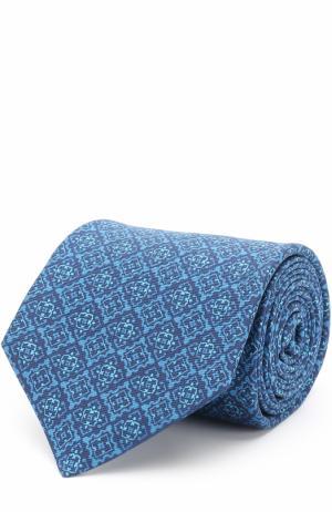 Шелковый галстук с узором Kiton. Цвет: голубой