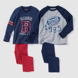 Комплект из 2 пижам джерси с рисунком, 2-12 лет R édition. Цвет: темно-синий + серый меланж
