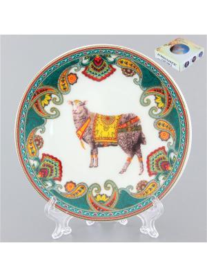 Тарелка декоративная Золотое руно Elan Gallery. Цвет: белый, зеленый, серый