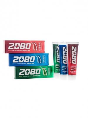 Набор Зубные пасты Dental Clinic 2080 Эдванс, Комплексная защита полости рта 3 штуки. Цвет: зеленый, красный, синий