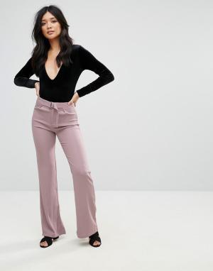 Glamorous Брюки с широкими штанинами. Цвет: розовый