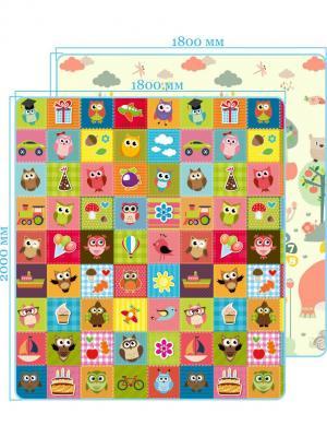 Коврик Мир животных/Совята двусторонний 200х180х0,5 Mambobaby. Цвет: голубой, оранжевый