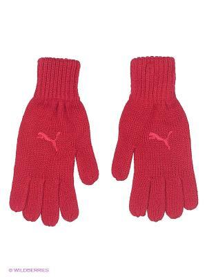 Перчатки Fundamentals Knit Gloves Puma. Цвет: темно-красный, красный, розовый