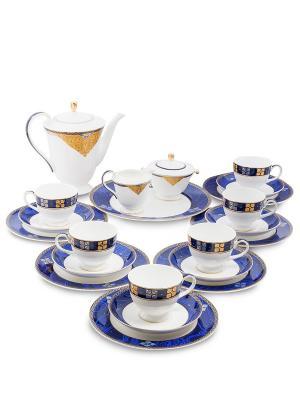Чайный сервиз на 6 перс. Золотой Палермо (Gold Palermo Pavone) Pavone. Цвет: белый, золотистый, синий