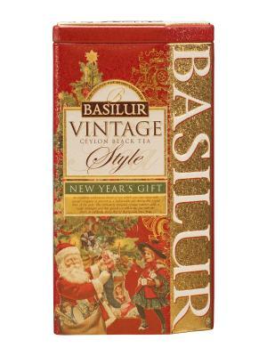 Чай Basilur ВИНТАЖ Новогодний подарок 100г.. Цвет: красный, золотистый