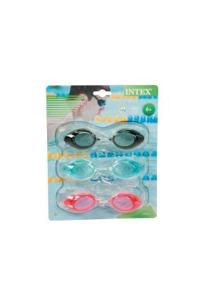 Очки спортивные для плавания от 8 лет, 3 шт. Intex. Цвет: голубой, розовый, черный