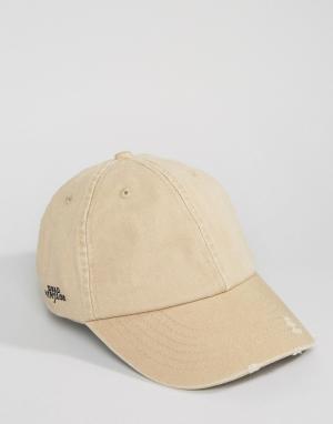 Dead Vintage Потертая кепка. Цвет: бежевый