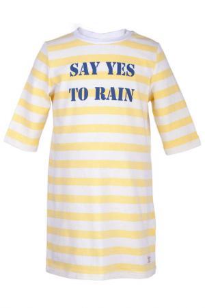 Платье Button Blue. Цвет: желтый, белый