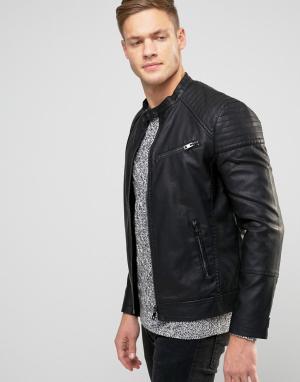 New Look Черная байкерская куртка. Цвет: черный