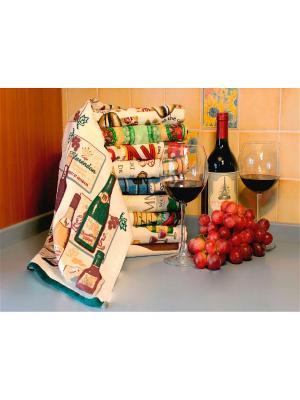 Полотенце для кухни Хлопковый Край. Цвет: бежевый, зеленый