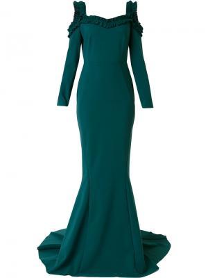 Вечернее платье с плиссированной отделкой Greta Constantine. Цвет: зелёный