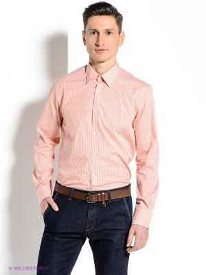 Рубашка MONDIGO. Цвет: оранжевый, белый