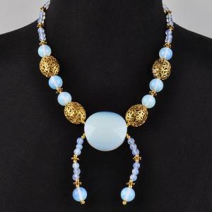 Авторские бусы Тесса лунный камень,  арт.КР-6226 Бусики-Колечки. Цвет: голубой
