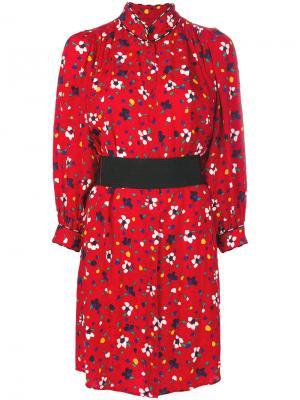Платье-рубашка с цветочным принтом Marc Jacobs. Цвет: красный