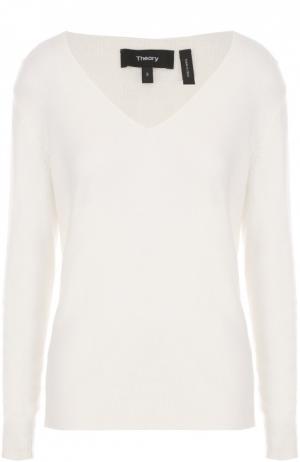 Кашемировый пуловер с V-образным вырезом Theory. Цвет: белый
