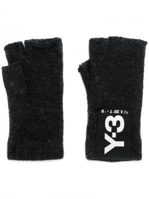 Перчатки-митенки Y-3. Цвет: чёрный