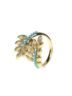 Кольцо Infiniti. Цвет: золотистый, бирюзовый