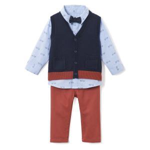 Комплект: Боди-поло, однотонная рубашка La Redoute Collections. Цвет: синий + темно-синий + коричневый