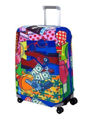Чехол для чемодана  Fortunato M/L Coverway. Цвет: синий