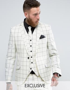 Heart & Dagger Зауженный клетчатый пиджак из ткани с добавлением шерсти Dagge. Цвет: белый