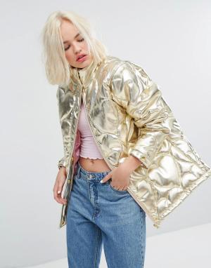 Lazy Oaf Дутая куртка Golden Child. Цвет: золотой