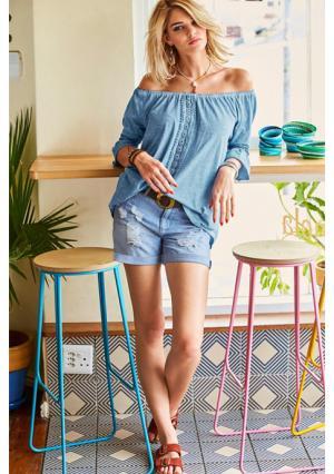 Кофточка Aniston. Цвет: джинсовый