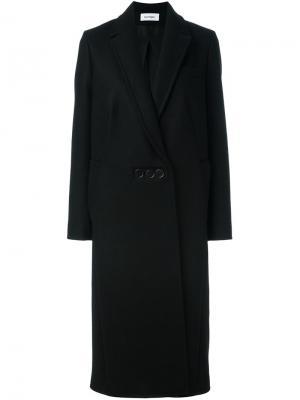 Длинное пальто на пуговицах Courrèges. Цвет: чёрный