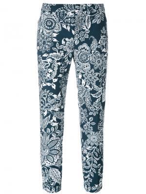 Укороченные брюки с цветочным узором Fay. Цвет: синий