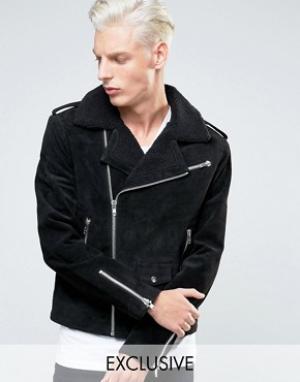 Black Dust Кожаная байкерская куртка с воротником борг. Цвет: черный