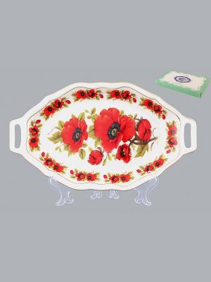 Блюдо для нарезки Маки Elan Gallery. Цвет: красный, белый