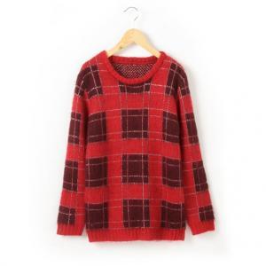 Пуловер в клетку с длинным ворсом R teens. Цвет: в клетку