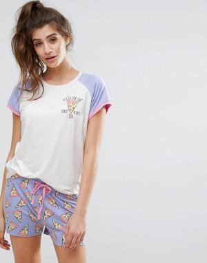 Chelsea Peers Пижамный топ с рукавами реглан и шорты принтом пиццы. Цвет: мульти