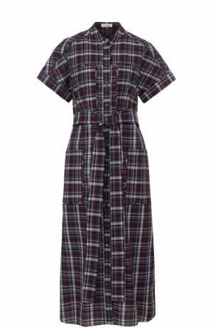 Хлопковое платье-рубашка в клетку с поясом Erdem. Цвет: разноцветный
