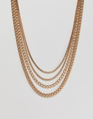ASOS Комплект золотистых цепочек разной длины. Цвет: золотой